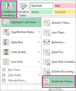 Screenshot of the 'Conditional Formatting' menu in Excel with 'Duplicate Values' highlighted.