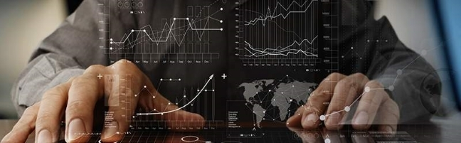 Two hands with overlaid graph charts
