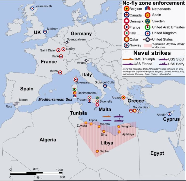 A map showing events of the coalition intervention in Libya