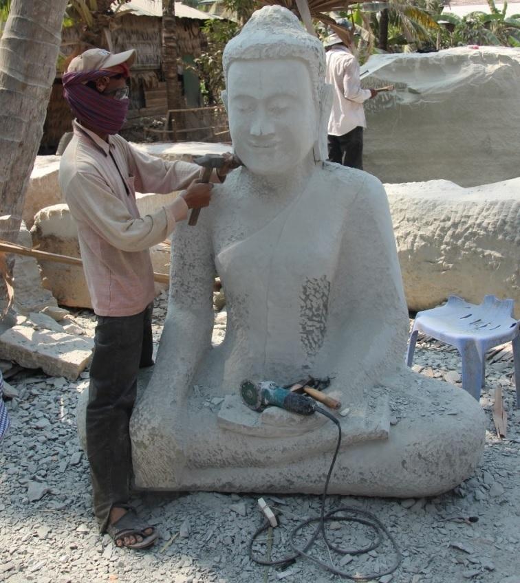 Carving of sandstone sculptures. Sandstone, which mostly is composed of crystalline silica, is relatively soft, making it easy to carv