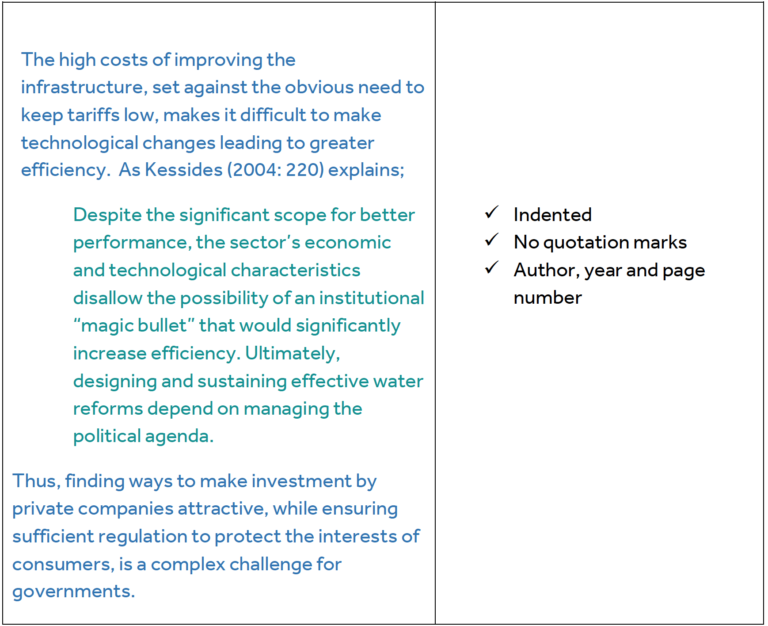 """Column one: The high costs of improving the infrastructure, set against the obvious need to keep tariffs low, makes it difficult to make technological changes leading to greater efficiency. As Kessides (2004: 220) explains; (slightly indented for quote)Despite the significant scope for better performance, the sector's economic and technological characteristics disallow the possibility of an institutional """"magic bullet"""" that would significantly increase efficiency. Ultimately, designing and sustaining effective water reforms depend on managing the political agenda. (Indent over) Thus, finding ways to make investment by private companies attractive, while ensuring sufficient regulation to protect the interests of consumers, is a complex challenge for governments. Column two: Indented, No quotation marks, Author, year and page number"""