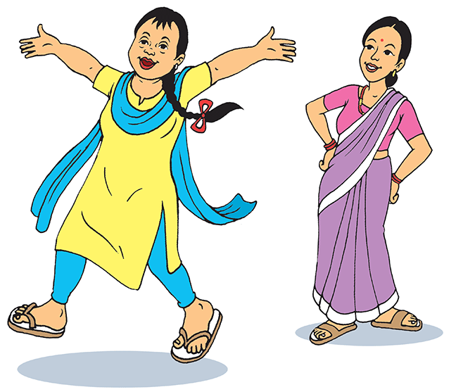 Bishesta is striding into the foreground, smiling, with her arms held high. Perana stands behind Bishesta and proudly watches at her. Bishesta wears blue and yellow, which are the campaign colours