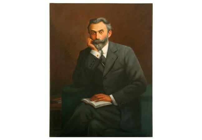 Oil painting of Ratan Jamsetji N. Tata sat holding a book