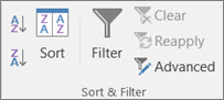 Screenshot of the 'Sort & Filter' section of the menu ribbon in Excel