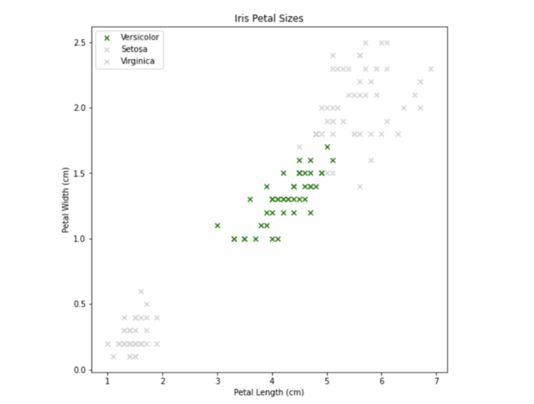 Screenshot from Jupyter Notebook that shows iris petel sizes and labeled with 3 different colors for categorization. Y axis is petal width cm (0.0, 0.5, 1.0, 1.5, 2.0, 2.5) and x axis is petal length cm (1, 2, 3, 4, 5, 6, 7). Setosa (blue) is lower left, Versicolor (green) is mid range, Virginica (red) is high right. Green is highlighted.