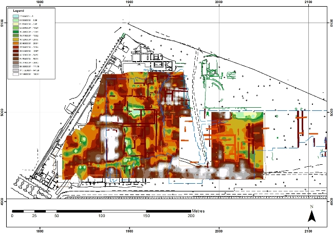 ERT data from the Imperial Palace area, including the Amphitheatre, Castellum Aquae and Building Five
