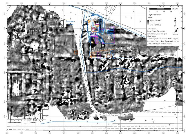Magnetometry data from the Imperial Palace area, including the Amphitheatre, Castellum Aquae and Building Five