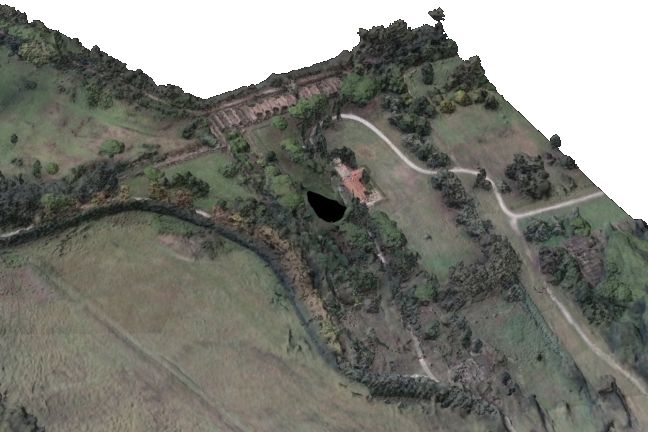Photogrammetry model made up of 37,000,000 digital facets, showing the area of the Grandi Magazzini di Settimio Severo
