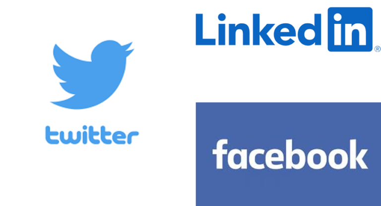logos of Twitter, LinkedIn and Facebook