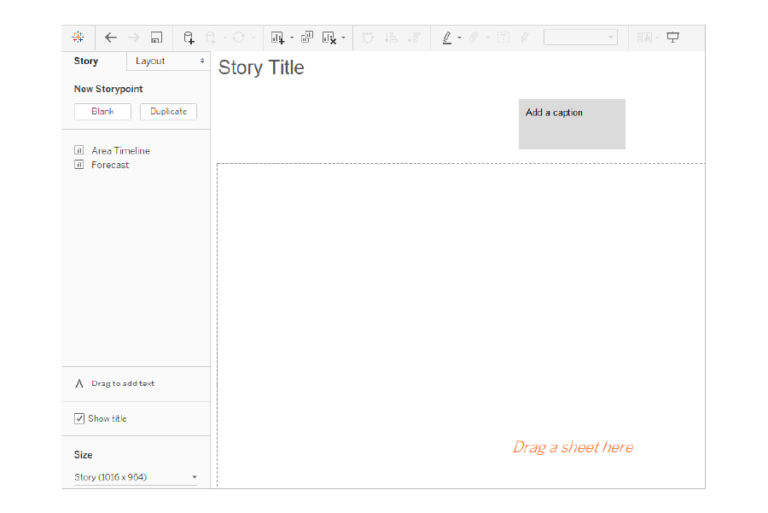 Step 1: Create a story in Tableau.