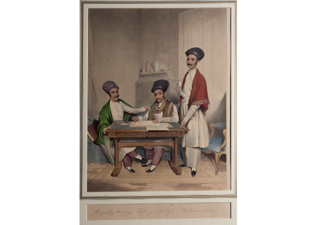 Painting of three men. Two are sat at a table with papers and the third is stood next to them.
