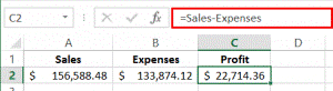 formula bar showing sales - expenses