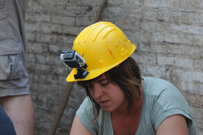 GoPro camera being used by Fran to help document her work on site