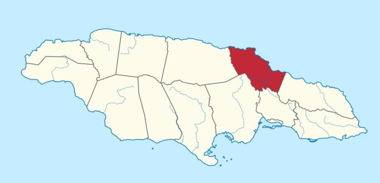 Map of St. Mary Parish, Jamaica