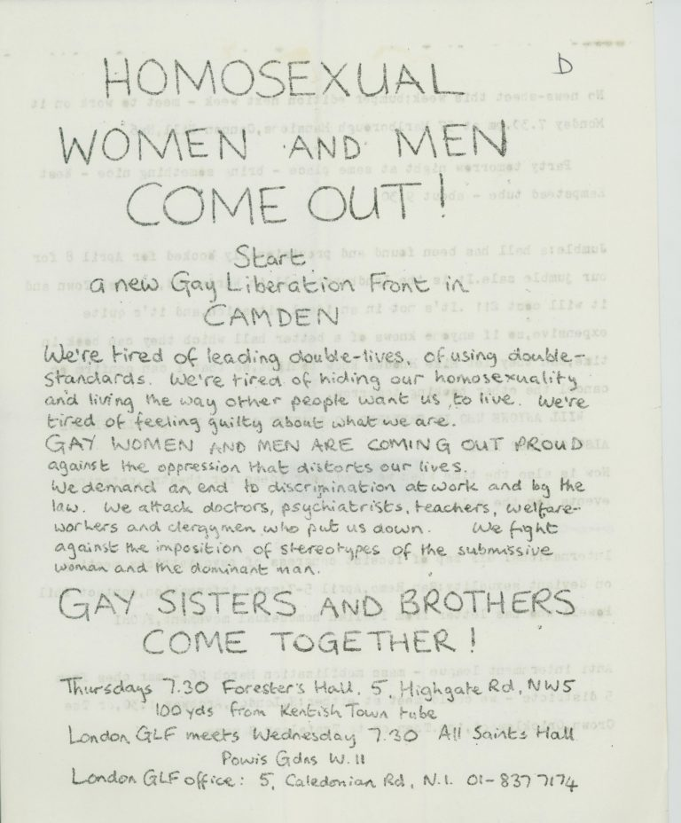 Poster made by the Gay Liberation Front