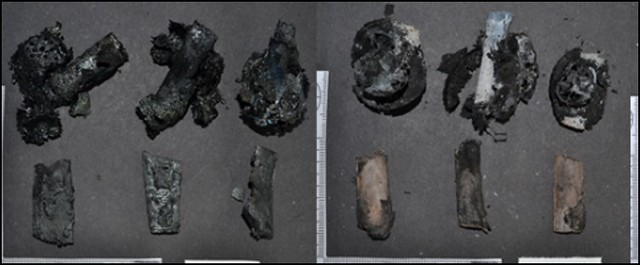 Blackened fragments of animal bone due to burning on the left and lighter coloured fragments of animal bone on the right which show some fracturing due to inversion