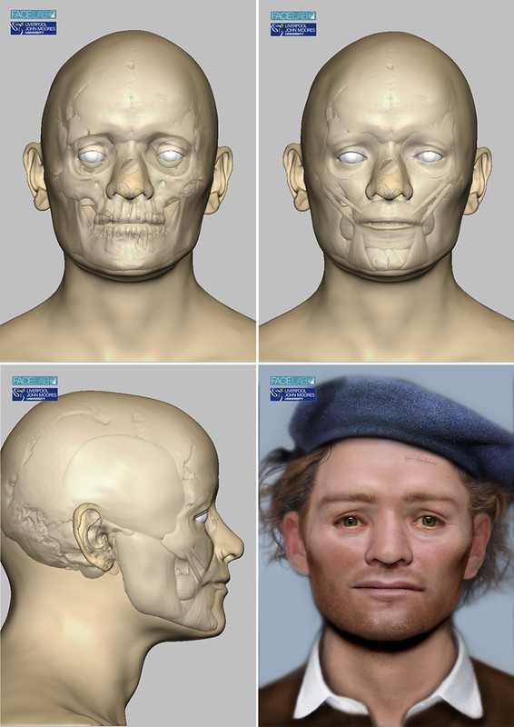 Image divided into four quadrants, showing stages in the facial reconstruction of one of the Scottish Soldiers. Three images show a digital scan of the skull and the addition of anatomical features such as muscles. The final images shows a reconstructed face of a red-haired young man