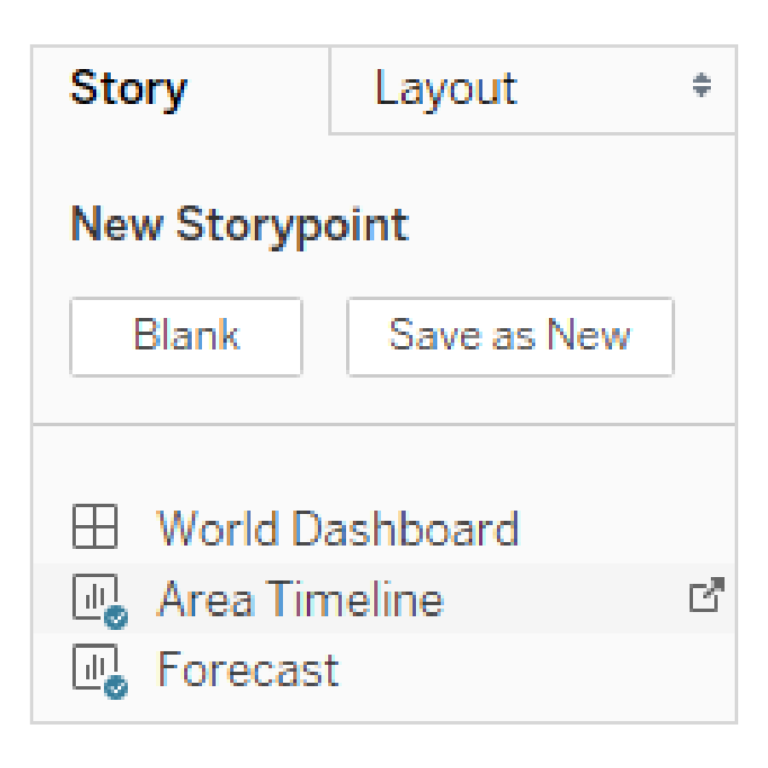 Step 7: Create new story in Tableau