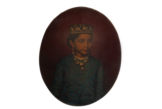 Oil painting of a young girl wearing ornate jewellery