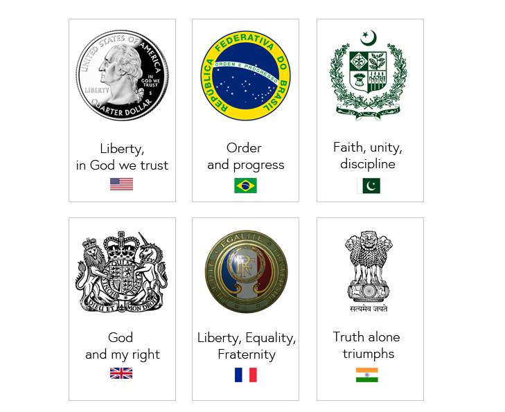 Mottos for the USA, Brazil, Pakistan, the United Kingdom, France, and India