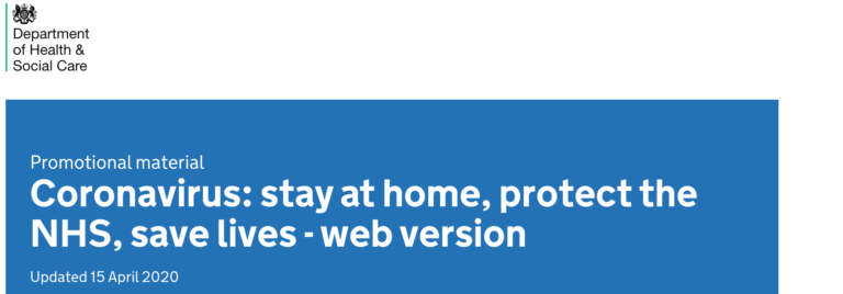 header from a government website promoting its 'stay at home' message
