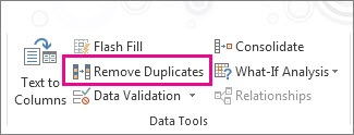 Screenshot of the 'Remove Duplicates' button in the Excel menu ribbon
