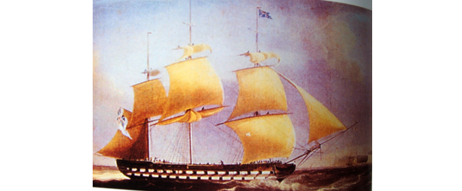 Painting of a large ship with multiple sails