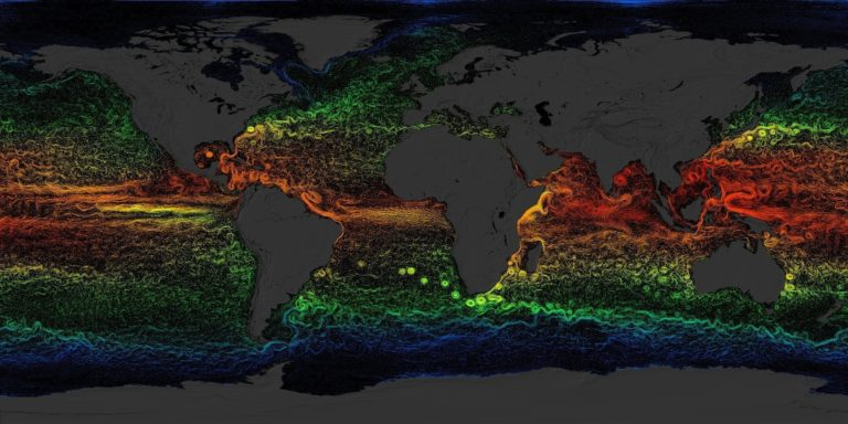 Sketch showing global ocean currents overlaid with sea surface temperatures.