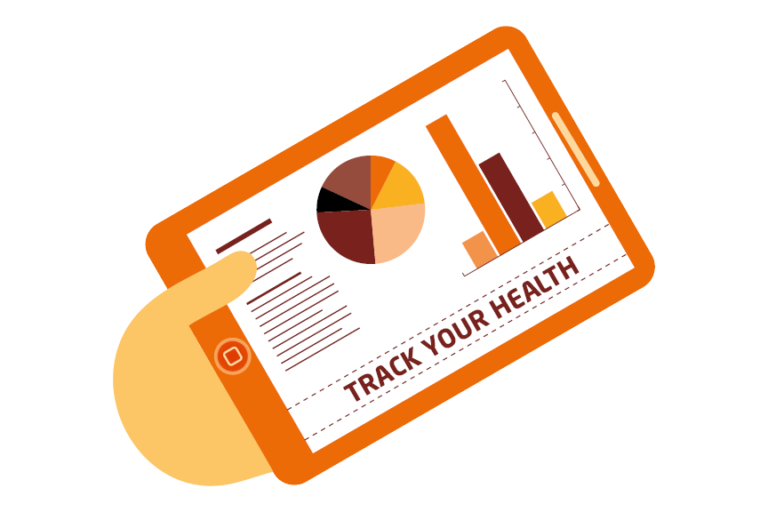 Illustration of a tablet being used to monitor a person's health