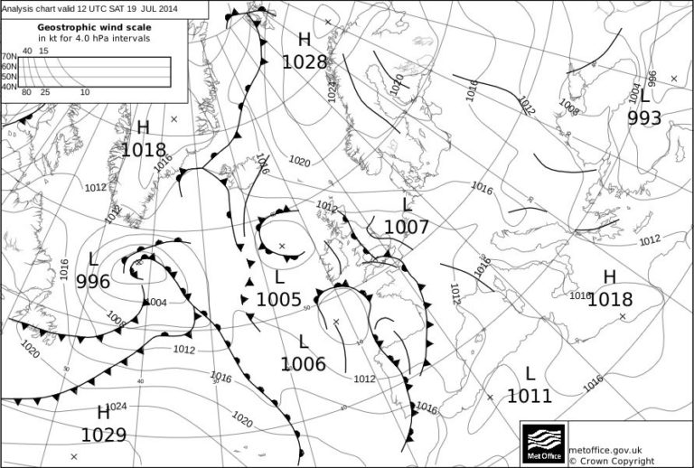 Met Office Analysis Chart valid for 1200 UTC on 19 July 2014, showing low pressure close to the UK, with a frontal system and trough over the UK