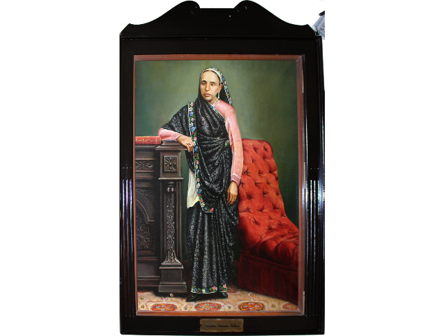 Painting of a woman in a black sari leaning against a mantelpiece
