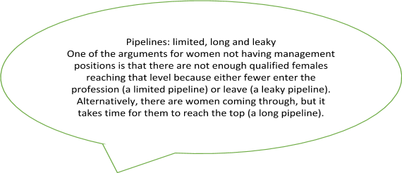 A quote box containing a definition of Pipelines: limited, long and leaky. One of the arguments for women not having management positions is that there are not enough qualified females reaching that level because either fewer enter the profession (a limited pipeline) or leave (a leaky pipeline). Alternatively, there are women coming through, but it takes time for them to reach the top (a long pipeline).