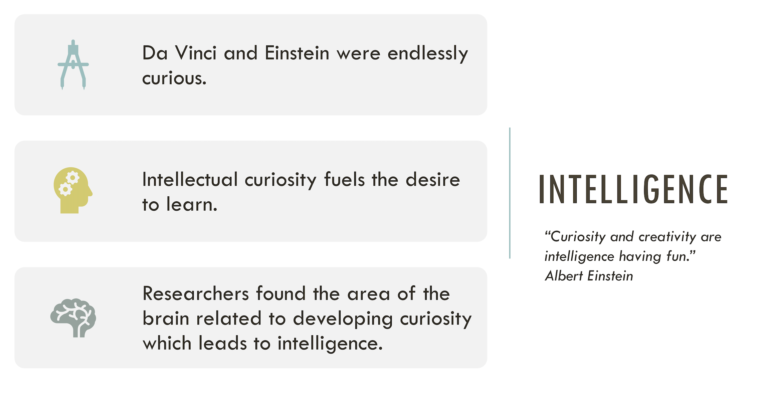 An image demonstrating 3 features of intelligence