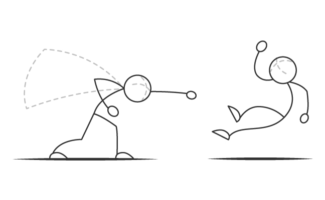 Two stickpeople fighting