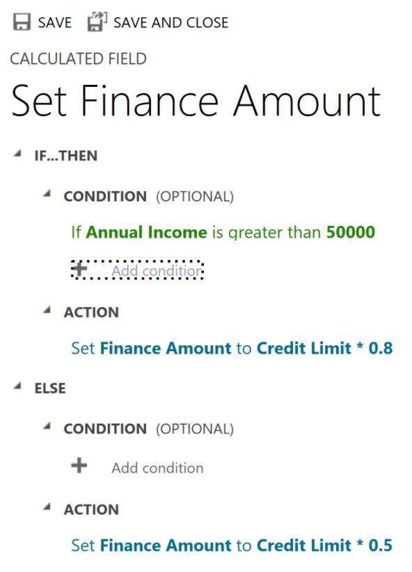 Screenshot of the Set Finance Amount calculated field