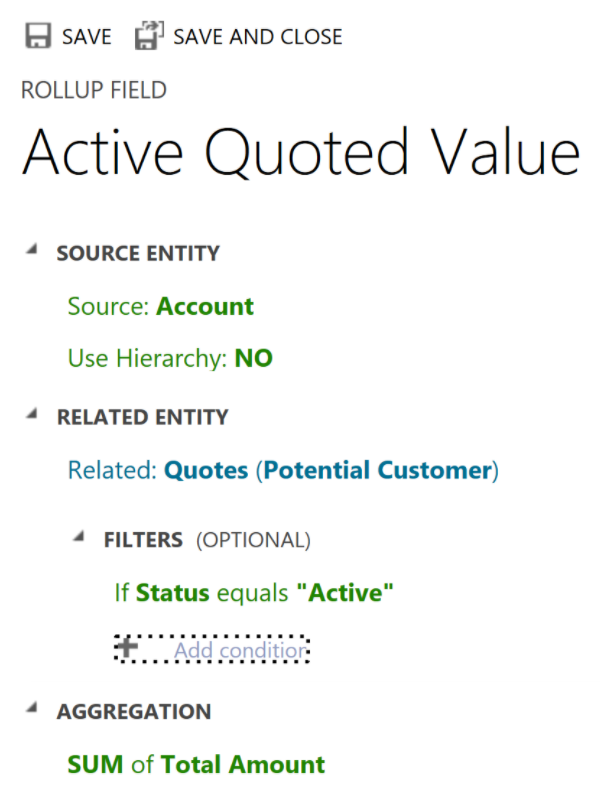 Screenshot of the Active Quoted Value rollup field