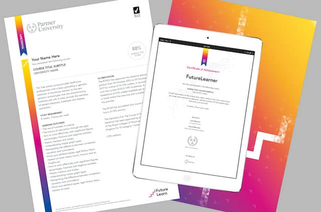 The new Certificate of Achievement in digital and printed formats