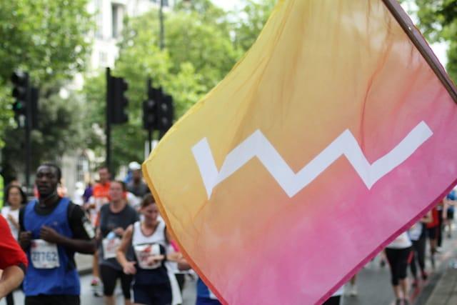 The FutureLearn flag flown at the British 10k run in London