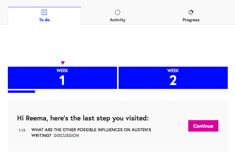 A screen showing the FutureLearn website with a return to step banner.