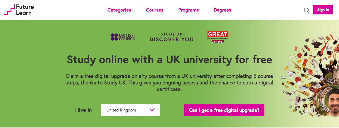 A screen showing the FutureLearn Study UK promotion.