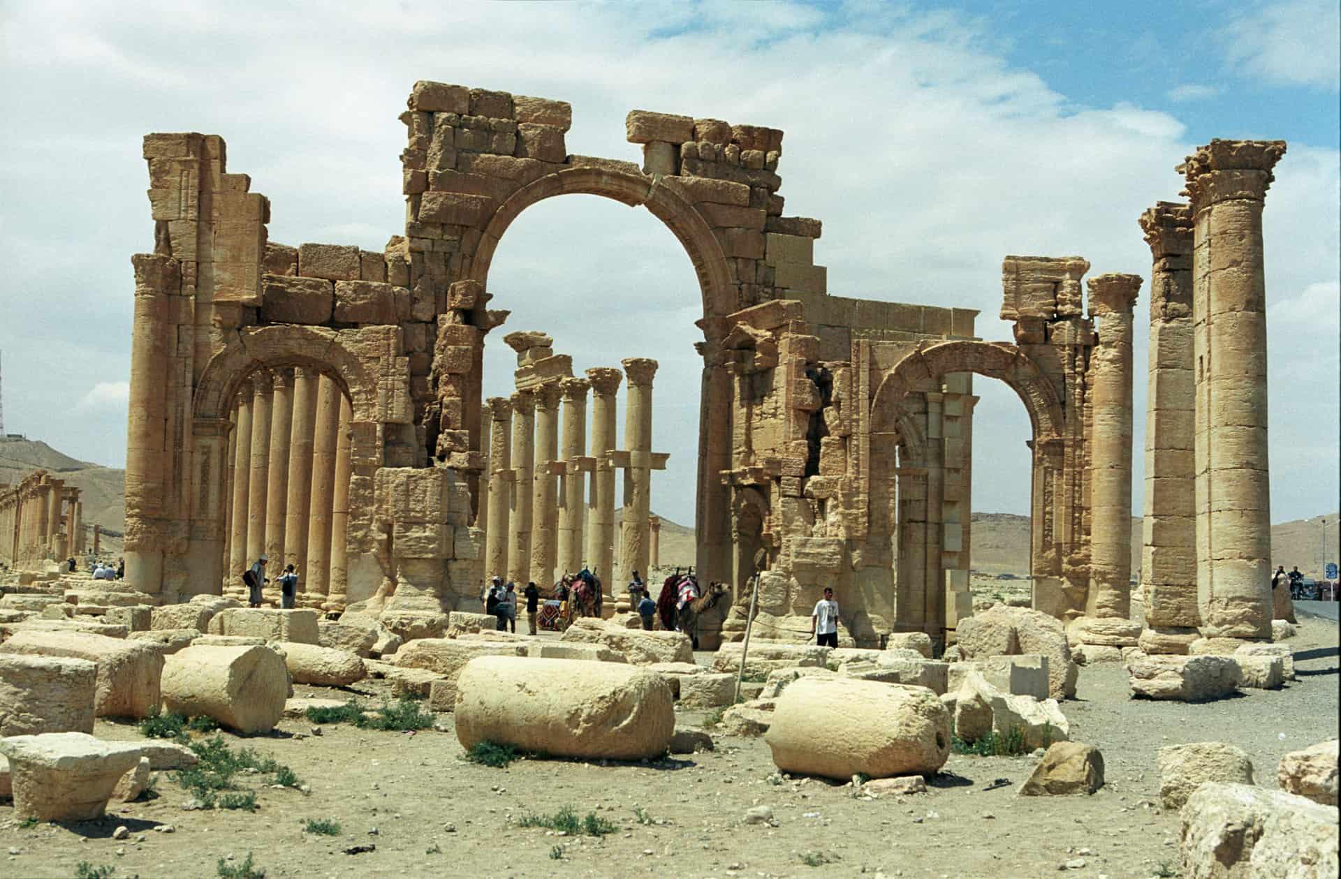 An arch in Palmyra's colonnade.