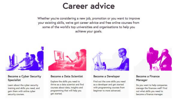 Screengrab of careers advice page