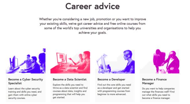 Screengrab of careers advice page