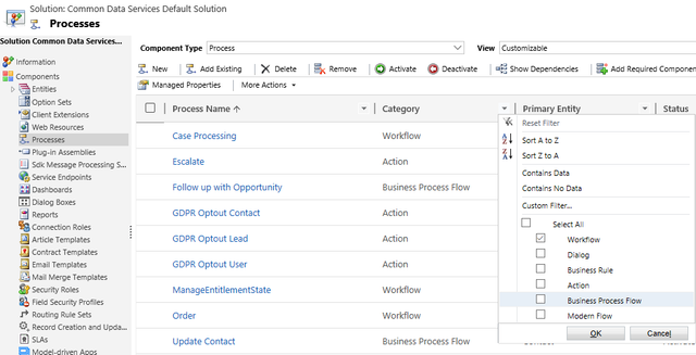 Screenshot of business processes with filter applied for workflows
