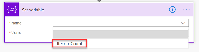 Screenshot showing variable set to RecordCount