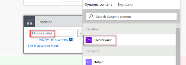 Screenshot of selecting the variable type RecordCount