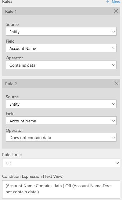 Screenshot of conditions using the OR operator