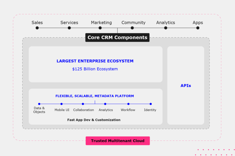 Graphic outling Core CRM Components: Sales, Services, Marketing, Community, Analytics, Apps. Including access to the Largest Enterprise Ecosystem worth 5 billion, APIs and a flexible, scalable, metadata platform. This is all part of the Trusted Multitenany Cloud.