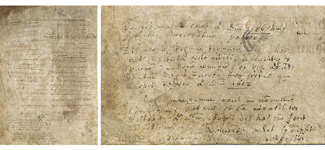 Fig 3 - Fig 4, a fifteenth century poem and a page featuring notes by Richard White, respectively