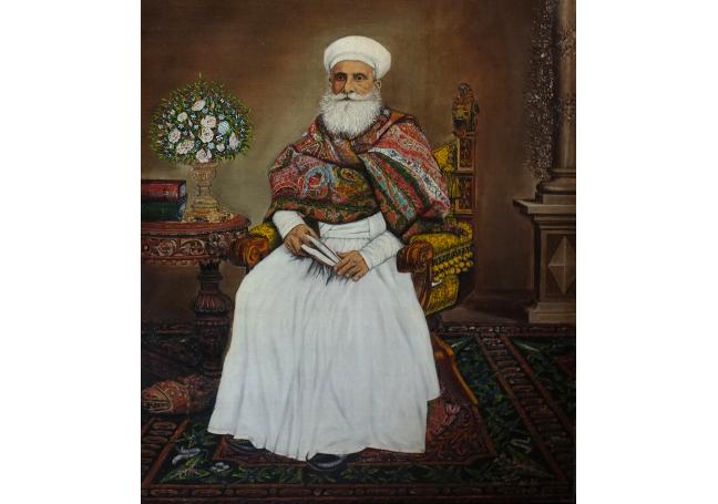 Oil painting of Dastur Noshirwan sat on an ornate chair